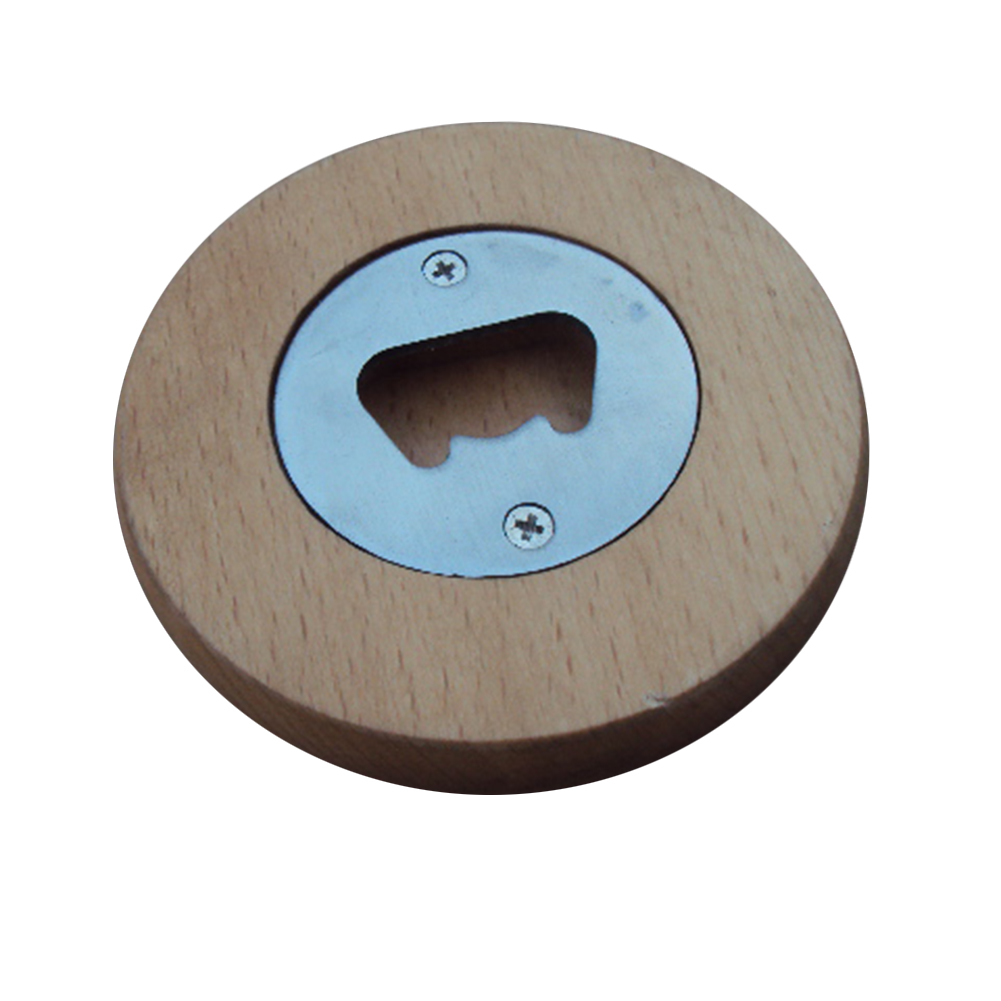 custom round wooden bottle opener 2 3 4 d silk printing or laser engrave. Black Bedroom Furniture Sets. Home Design Ideas