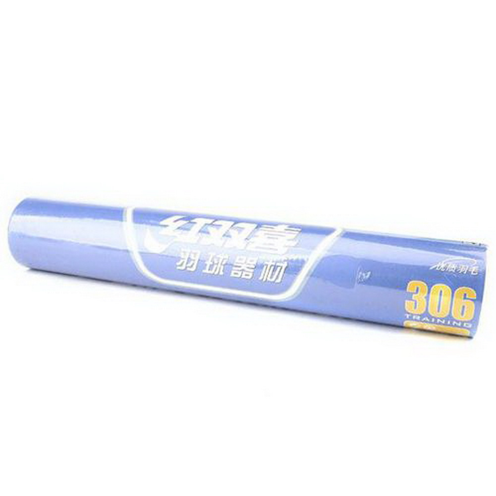 DHS Feather Shuttlecocks #306, Badminton Shuttlecock (12pcs / tube)