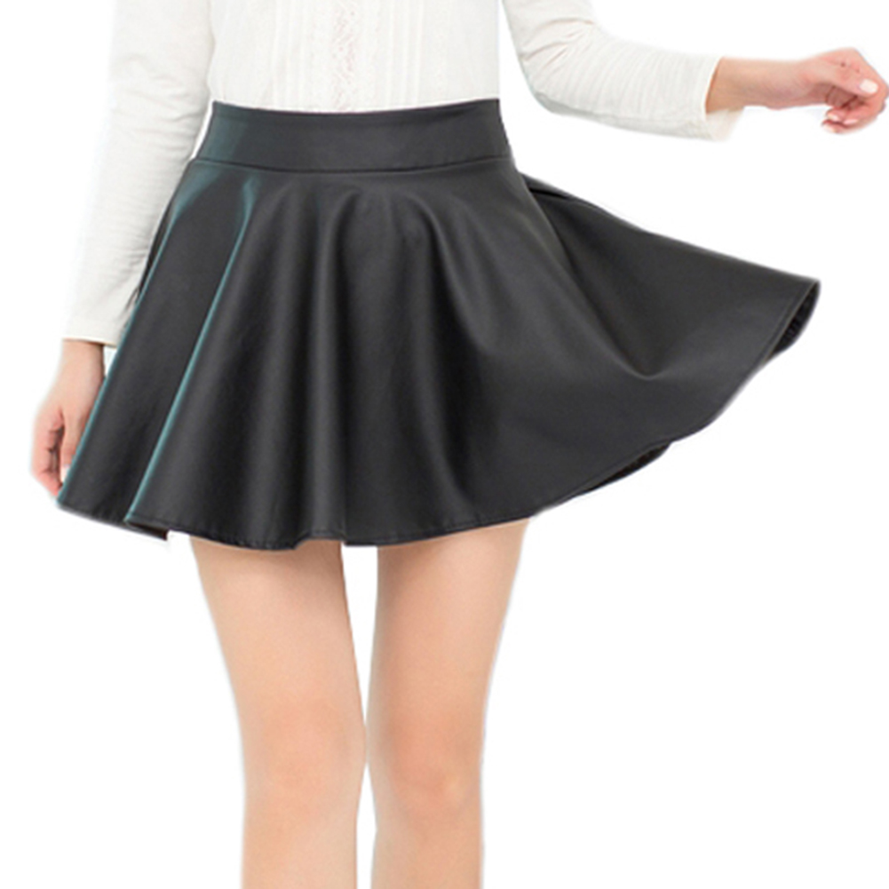 opentip toptie pleated faux leather skirt high