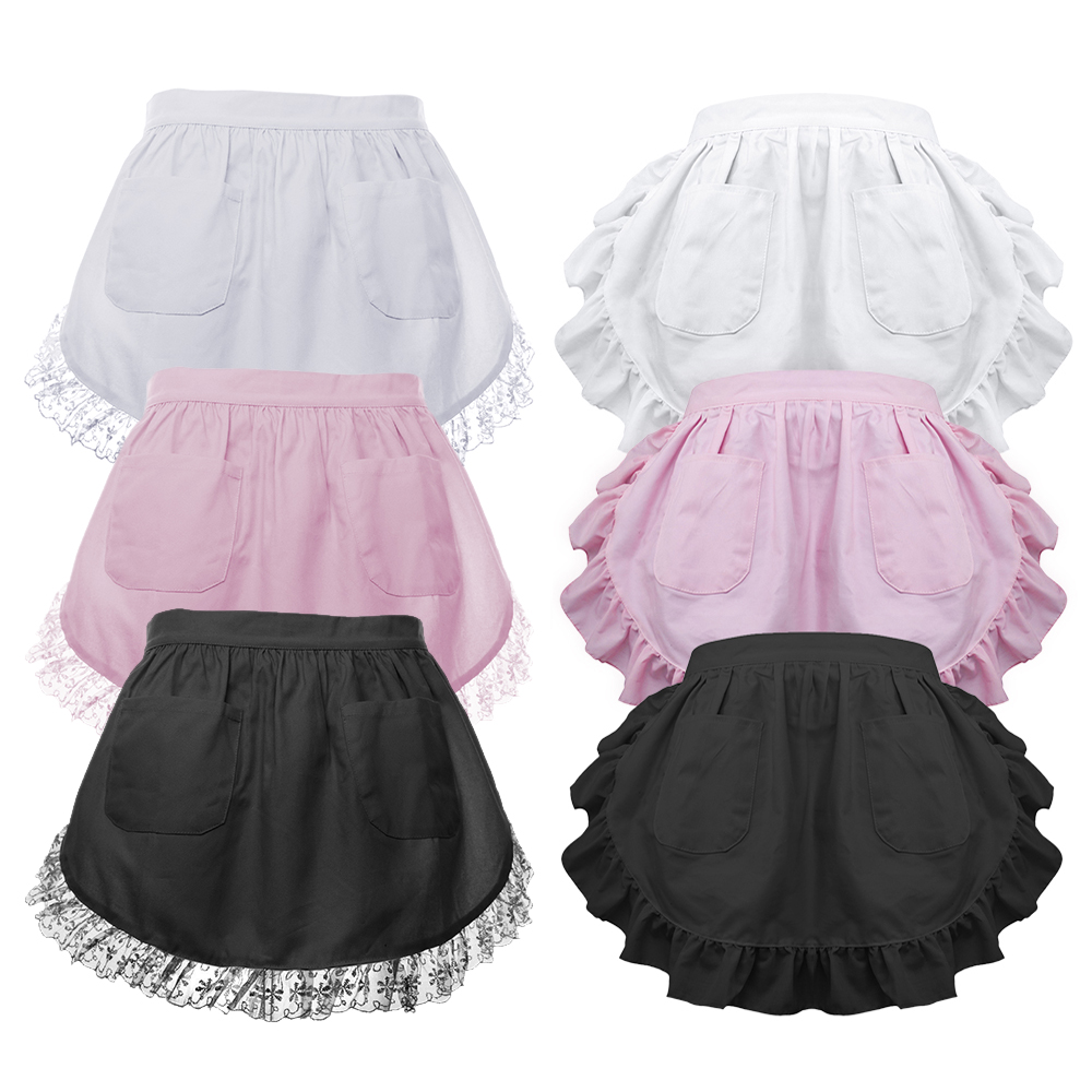 White apron kitchen - Aspire Women S Waist Apron Victorian Maid Costume Lace White Cotton Half Apron Kitchen Party Favors Two Pockets