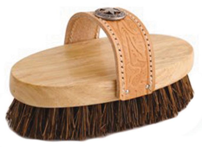 Desert Equestrian Legends Cowboy Western-Style Oval Mud Brush - Tan - 7.5 Inch
