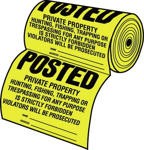 Hy-Ko Posted  Property Sign - Yellow/Black - 100-Piece Roll