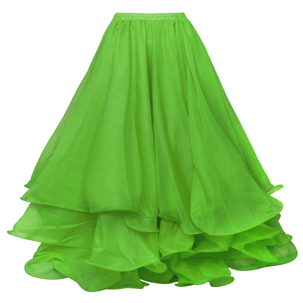 BellyLady Belly Dance Three-layer Chiffon Hemming Skirt, Tiered Maxi Skirt