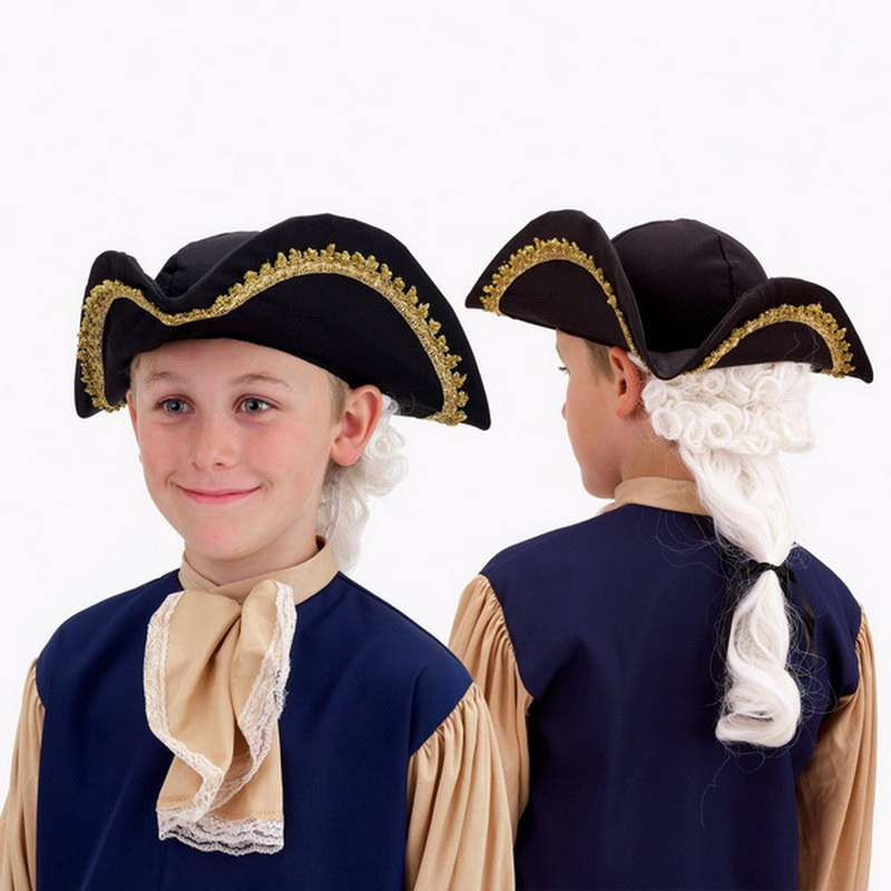 Forum Novelties 57500 Colonial Hat with Wig Child - Size: One Size - Color: Black