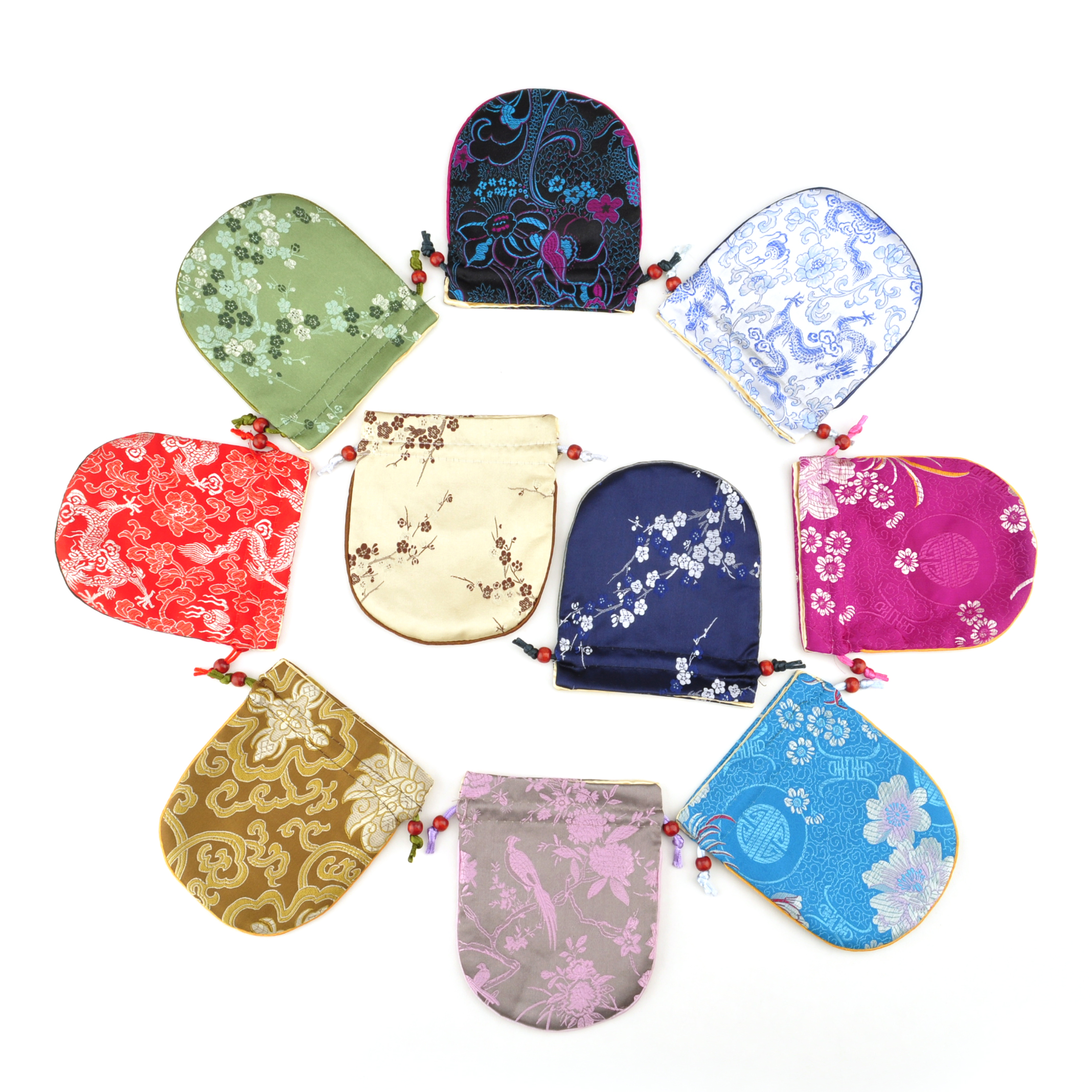 "Aspire Silk Brocade Pouch with Drawstring, Wedding Favor Bags, 4-3/4"" x 5-1/2"", Assorted Colors, Wholesale Lot"