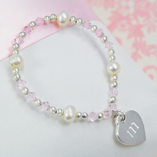 Cathy's Concepts B9251P Little Girl's Heart Charm Bracelet