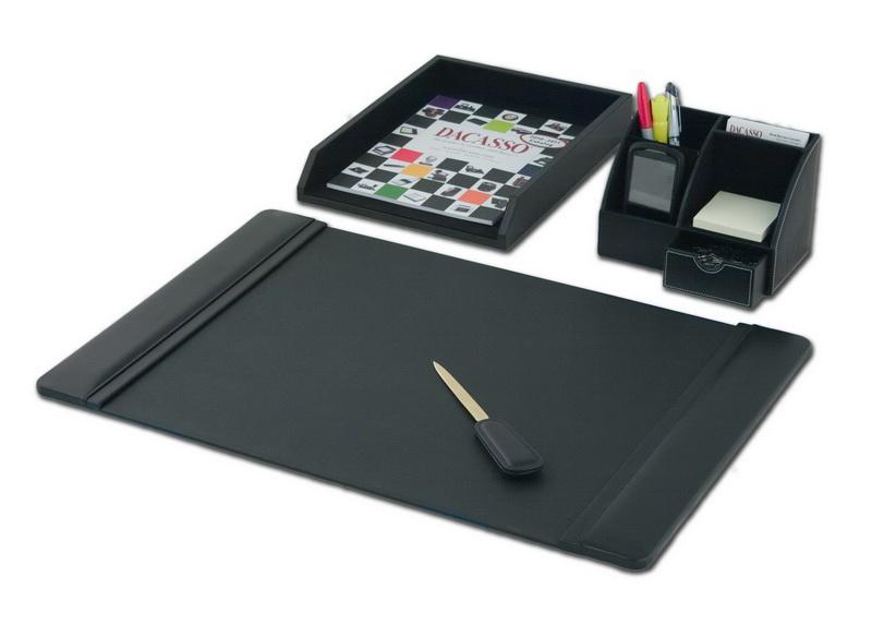 Dacasso d1005 black leather 4 piece desktop - Desk set organizer ...