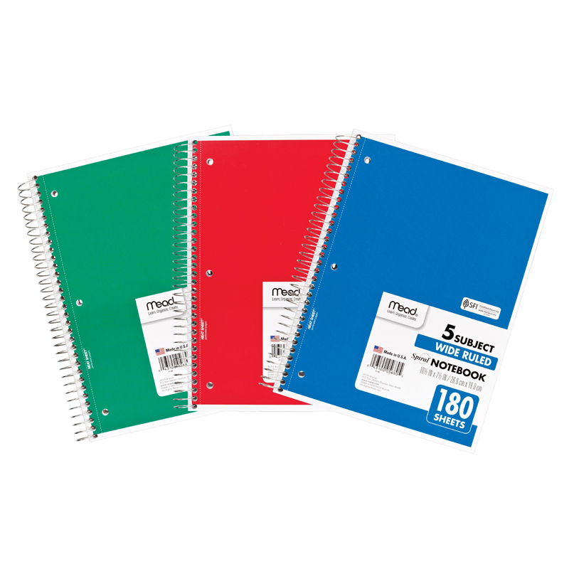 Mead Products MEA05680 Notebook Spiral 5 Subject 180 Ct 10 1/2 X 8