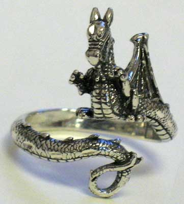 AzureGreen Dragon, adjustable Ring