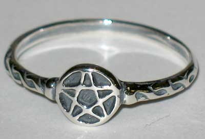 AzureGreen Tiny Pentagram Ring sz 4