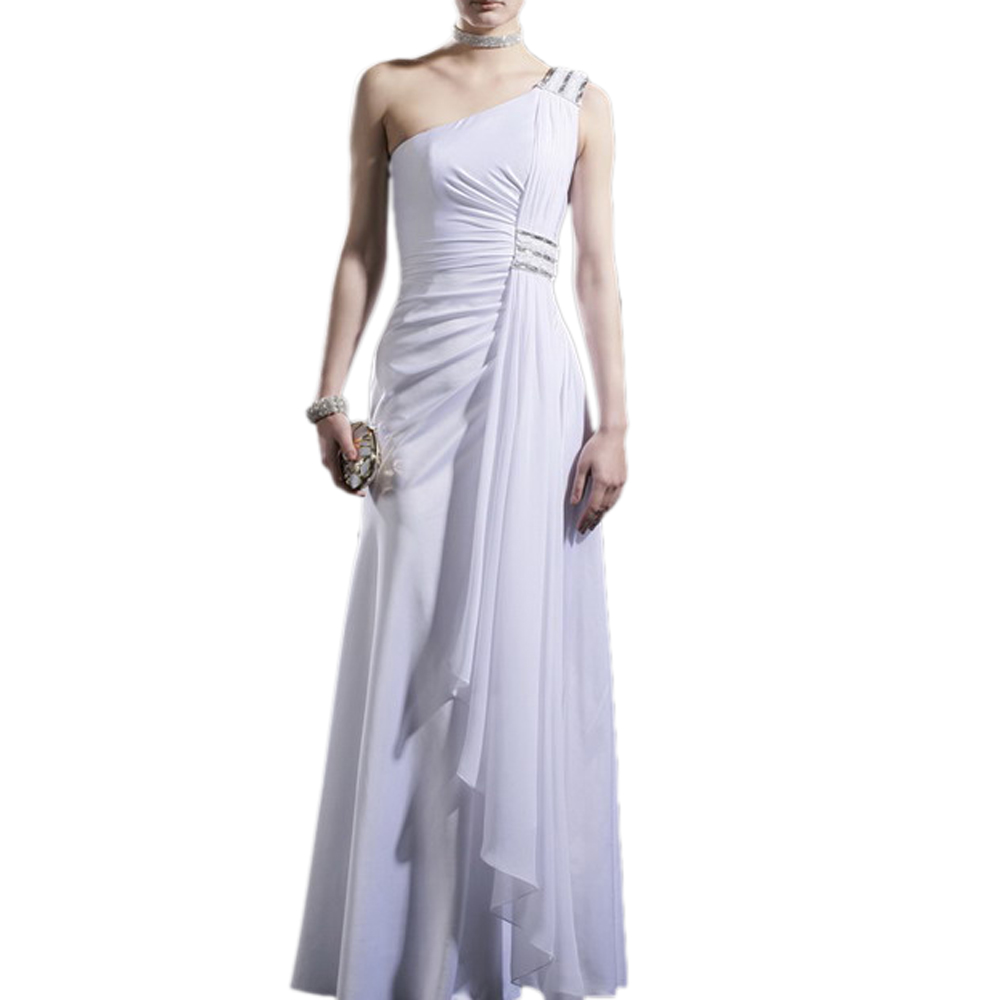 One Shoulder Chiffon Goddess Formal Gown Prom Dress, 30910