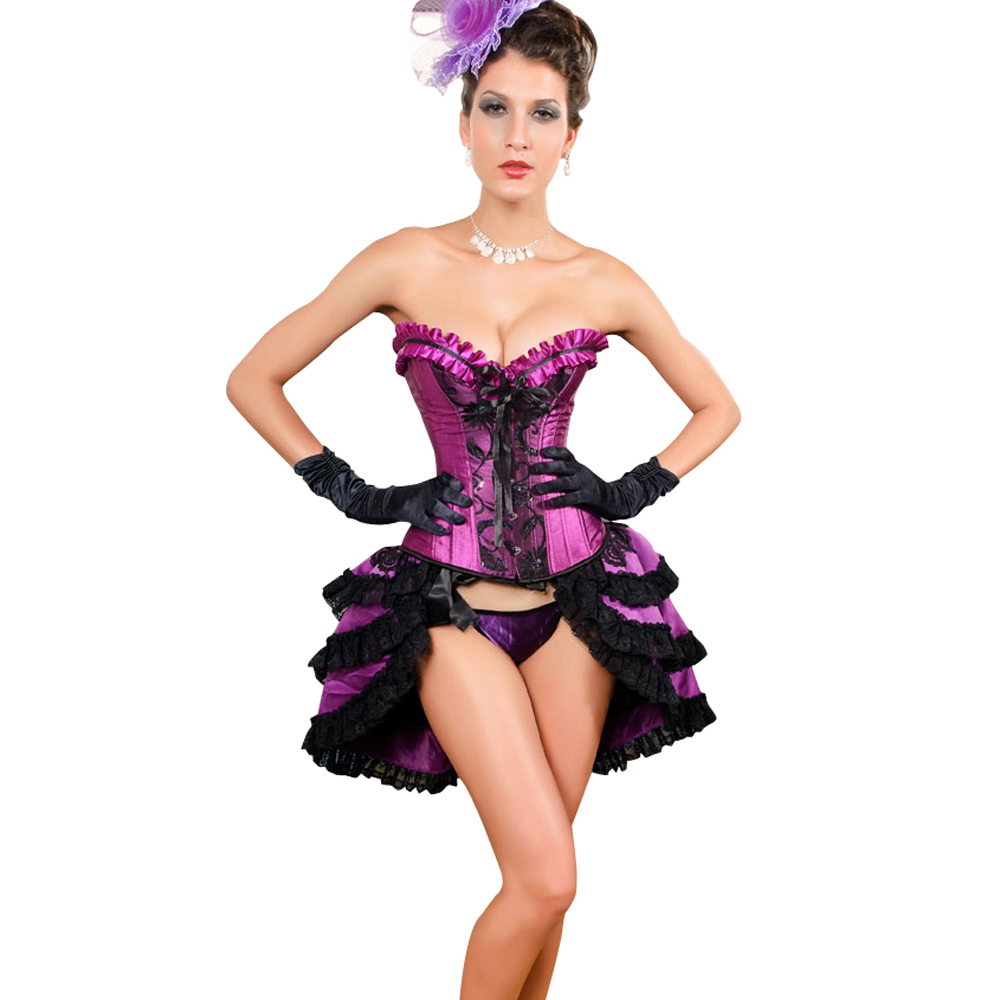 MUKA Burlesque Black & Purple Lace Fashion Corset, Gift Idea
