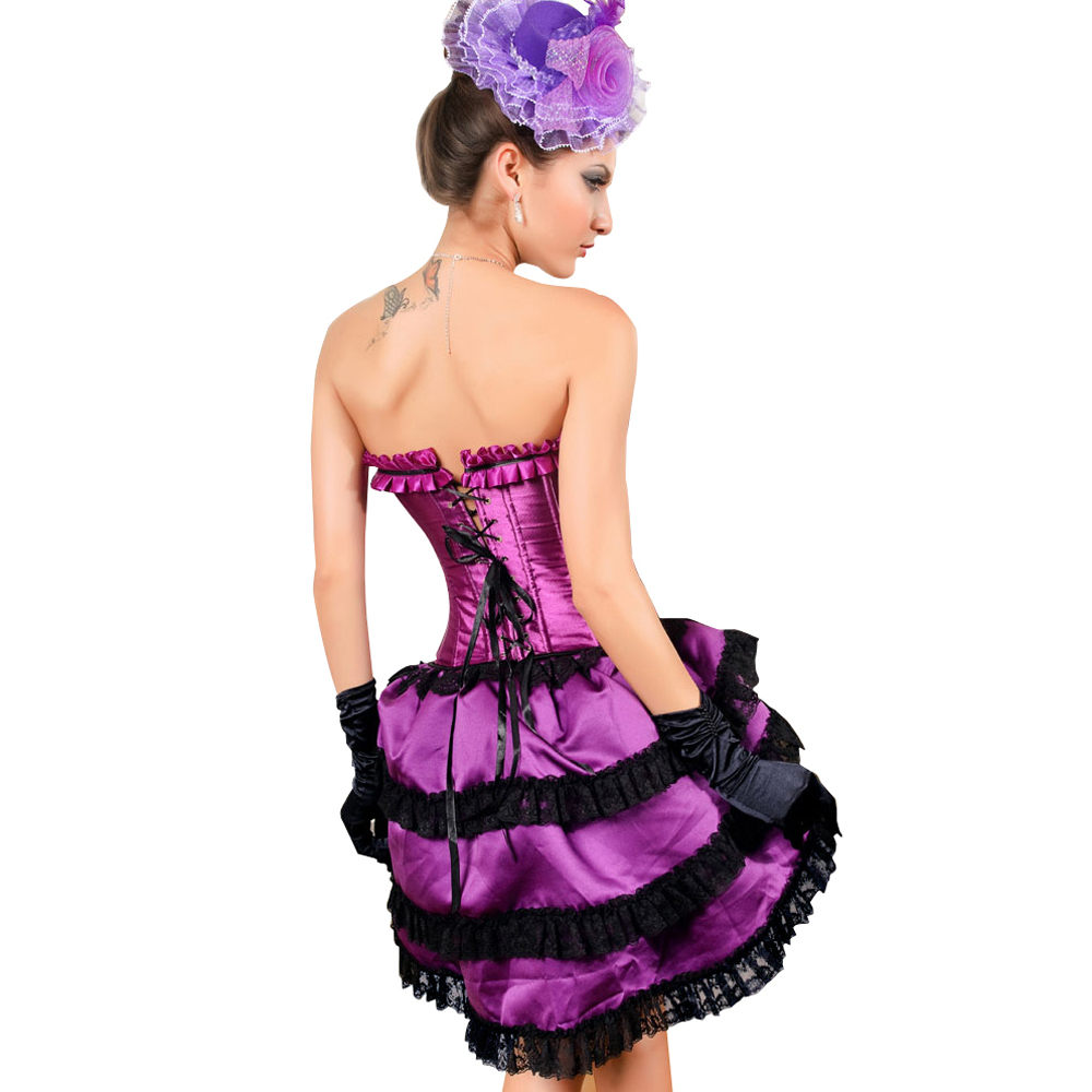 MUKA Burlesque Black Purple Lace Fashion Corset & Skirt, Bustier Tops for Women