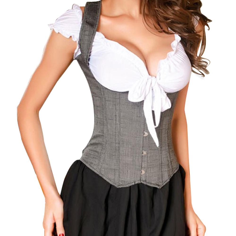 MUKA Gray Rocker Style Vest Underbust Fashion Corset Waist Cincher, Gift Idea