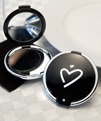 FashionCraft 5912 Styling Black Heart Design Compact Mirror Favors