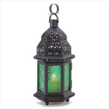 Gifts & Decor 13244 Green Glass Moroccan Candle Holder Hanging Lantern