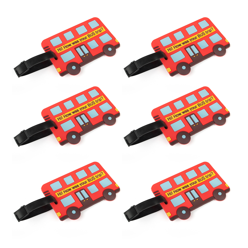 TopTie 6 Pcs Bus Shaped Luggage Tag, Personalized Gift Ideas, Travel Accessories