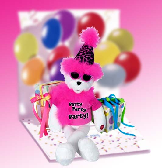 "Get The Party Started Bear 15"", Gift Basket"
