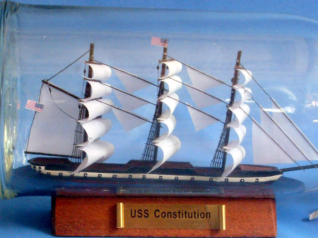 Handcrafted Model Ships Constitution Bottle USS Constitution Ship in a Bottle 11""
