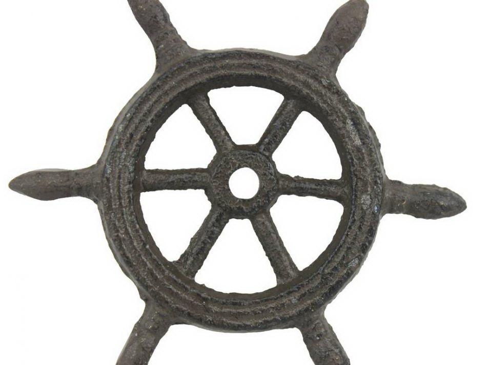 Ships K  Cast Iron Cast Iron Ship Wheel Decorative Paperweight