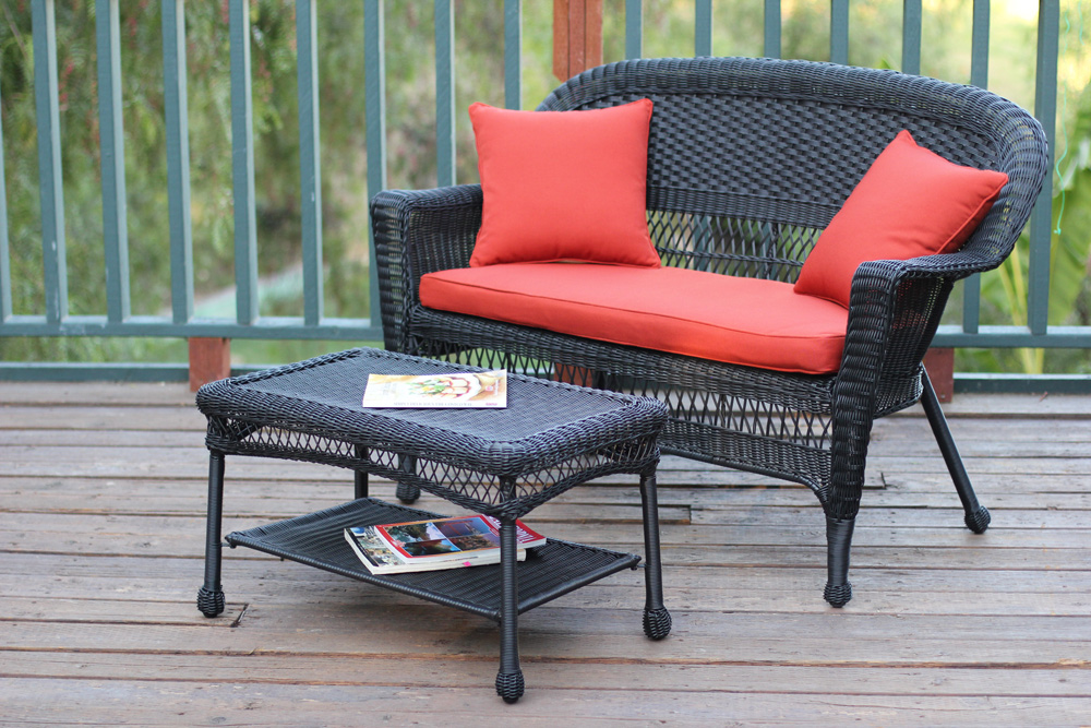 Opentip.com: Jeco W00207-LCS018 Black Wicker Patio Love Seat And