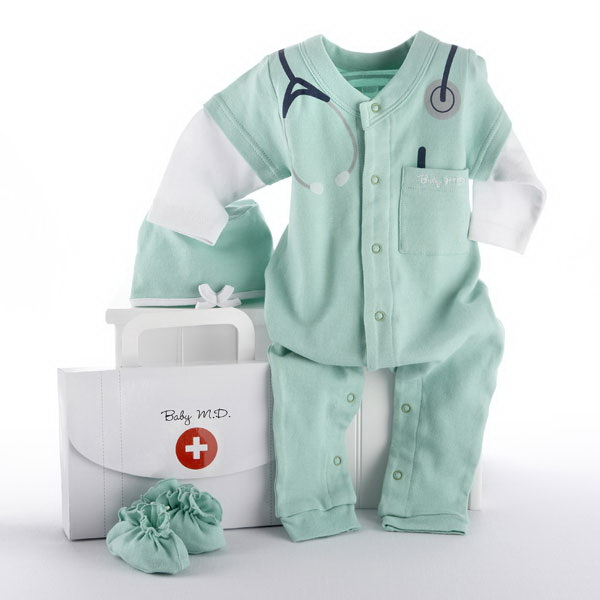 "Baby Aspen BA16010GN ""Big Dreamzzz"" Baby M.D. Three-Piece Layette Set in ""Doctor's Bag"" Gift Box"