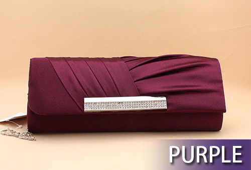 Pleated Satin Evening Bag Hand Case - Wholesale