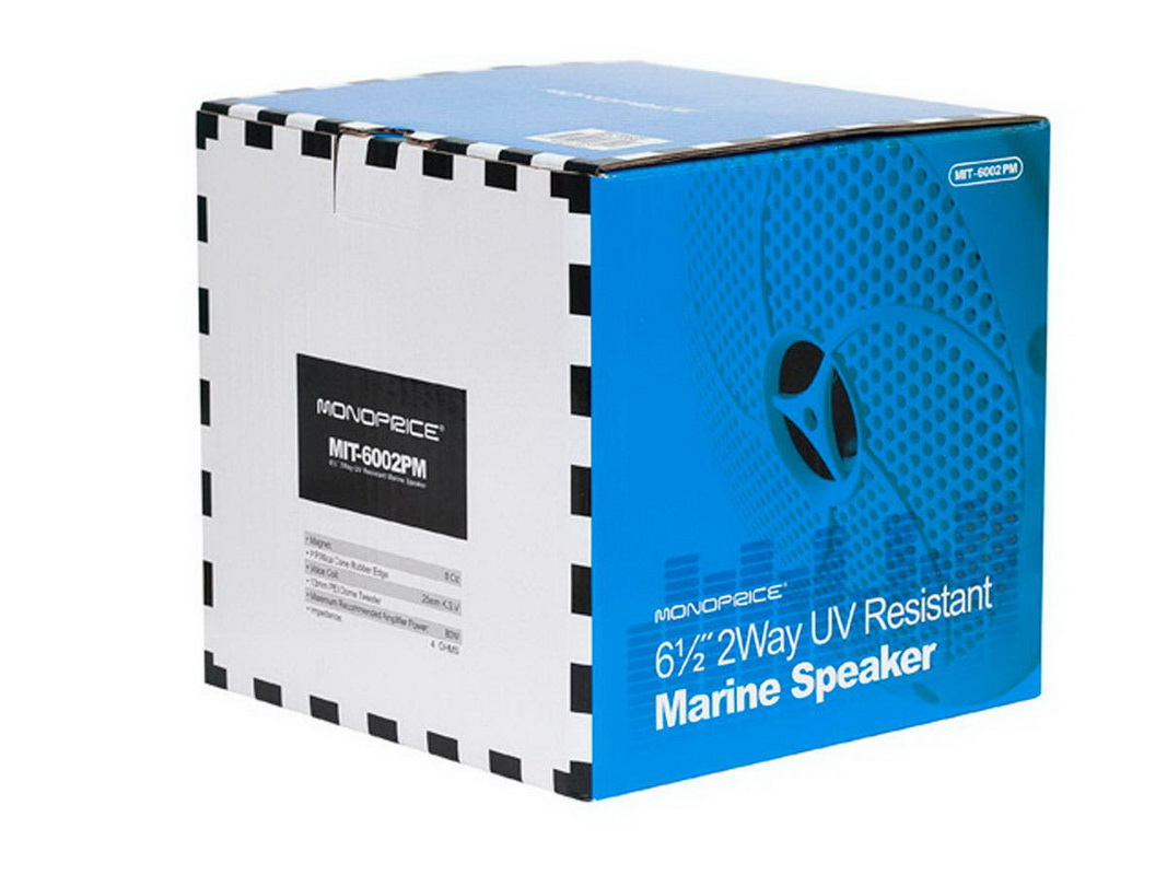 Monoprice 8555 UV Resistant 6-1/2 Inches 2-Way Marine Speaker (Pair)