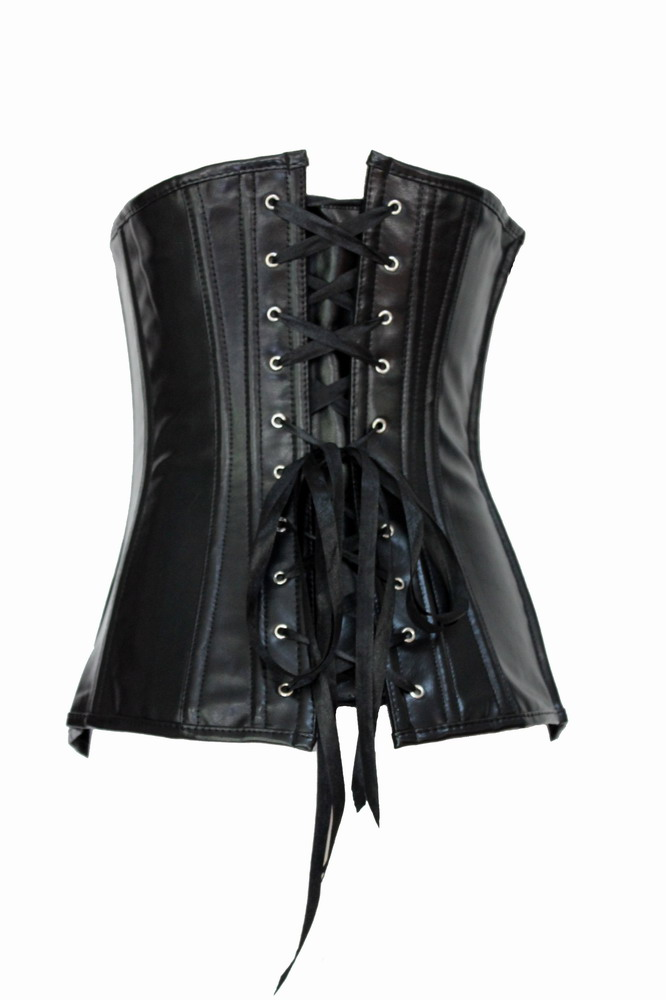 Muka Gothic Steampunk Black PU Leather Steampunk Fashion Corset Bustier