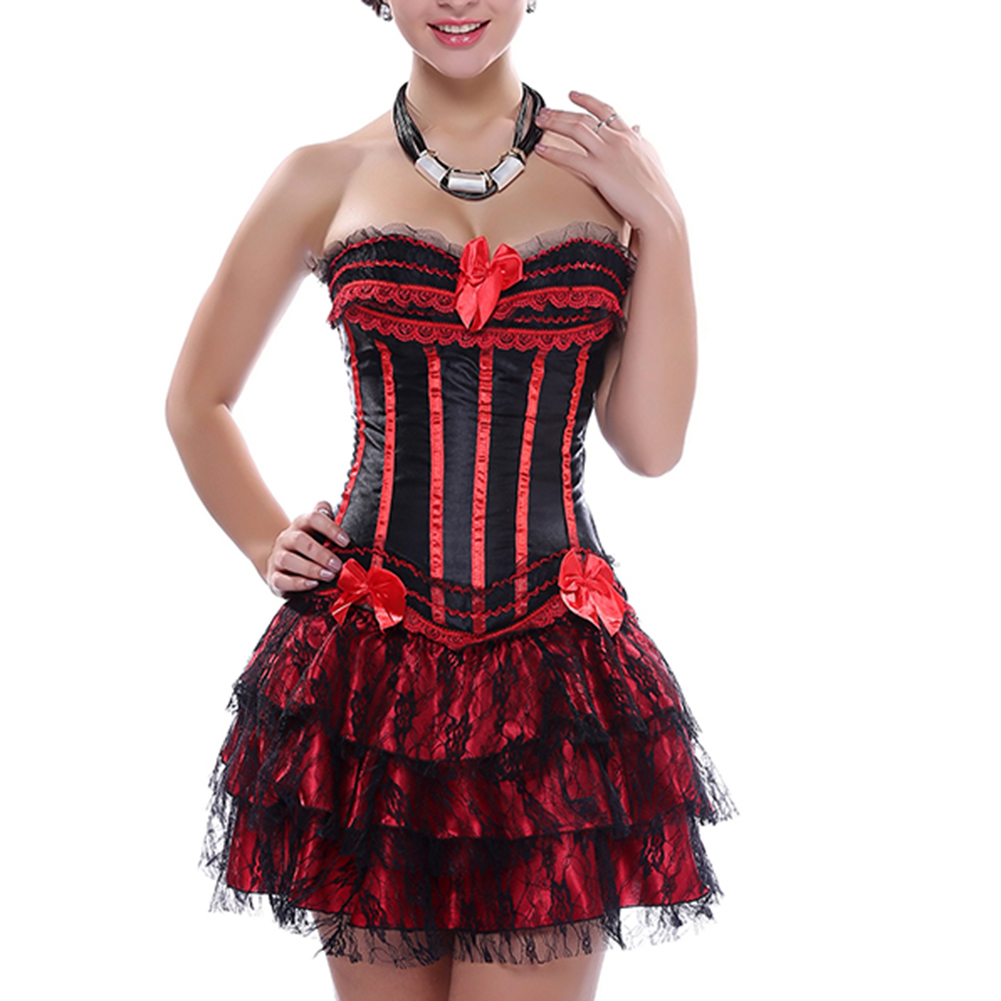 Muka Women Black Red Boned Overbust Corset Lace Up Bustiers Halloween Costume