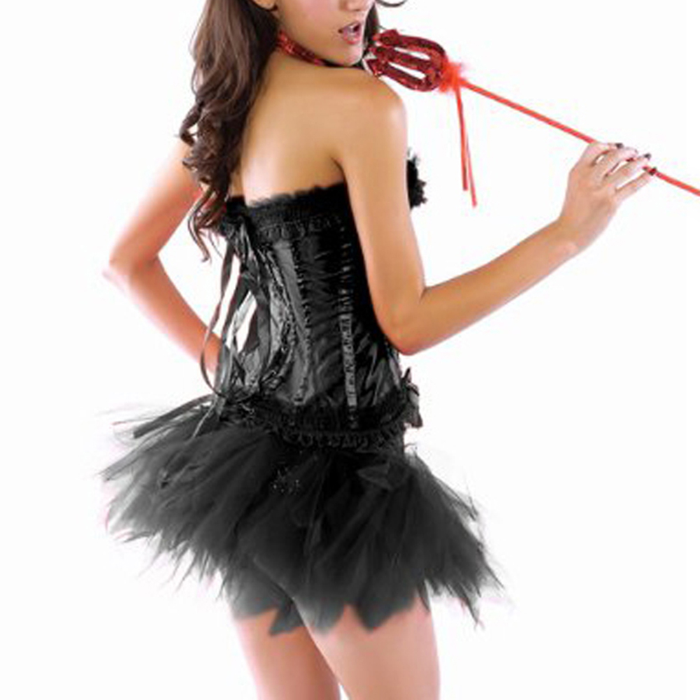 Muka Burlesque Lingerie Black Fashion Corset Bustier And Petticoat, Halloween Costume