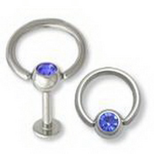 14G Jeweled Slave Doorknocker Labret Ring