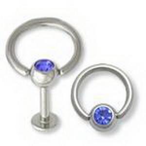 14G Jeweled Slave Doorknocker Labret Ring