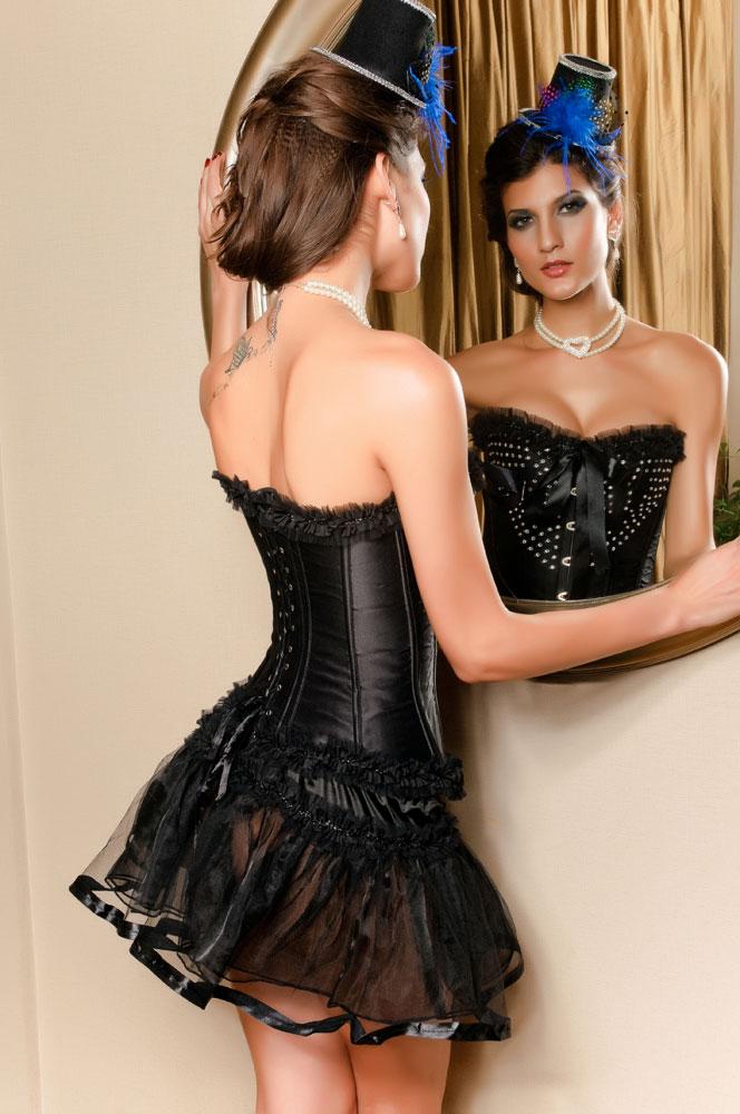 Muka Womens Black Tiered Chiffon Petticoat Skirt, Halloween Costume