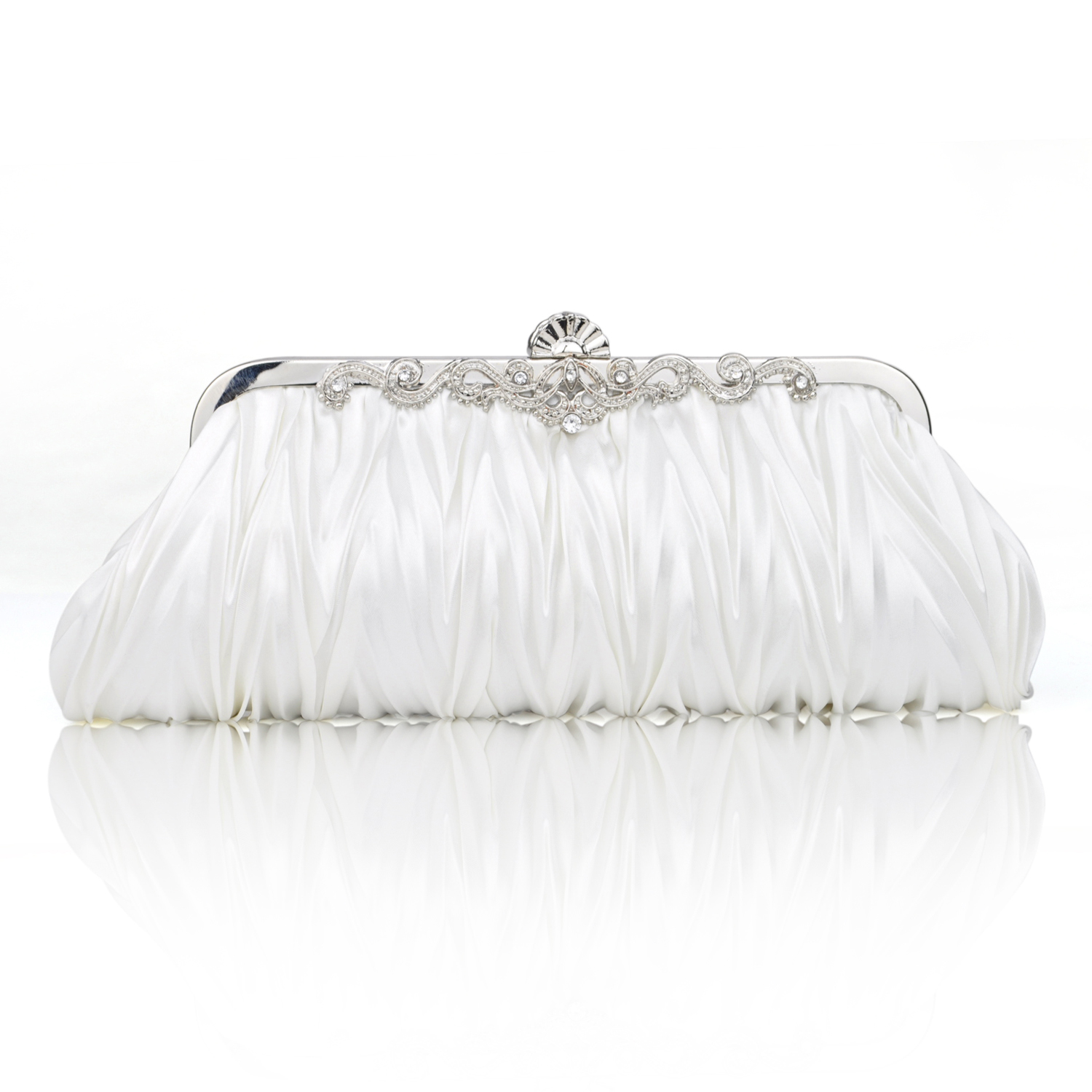 Pleated Satin Clutch, Ivory Evening Handbag, Gift Idea