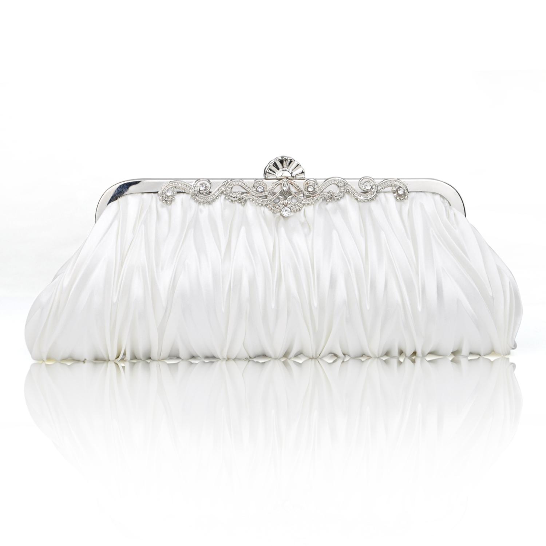 TopTie Pleated Satin Clutch, Ivory Evening Handbag, Gift Idea
