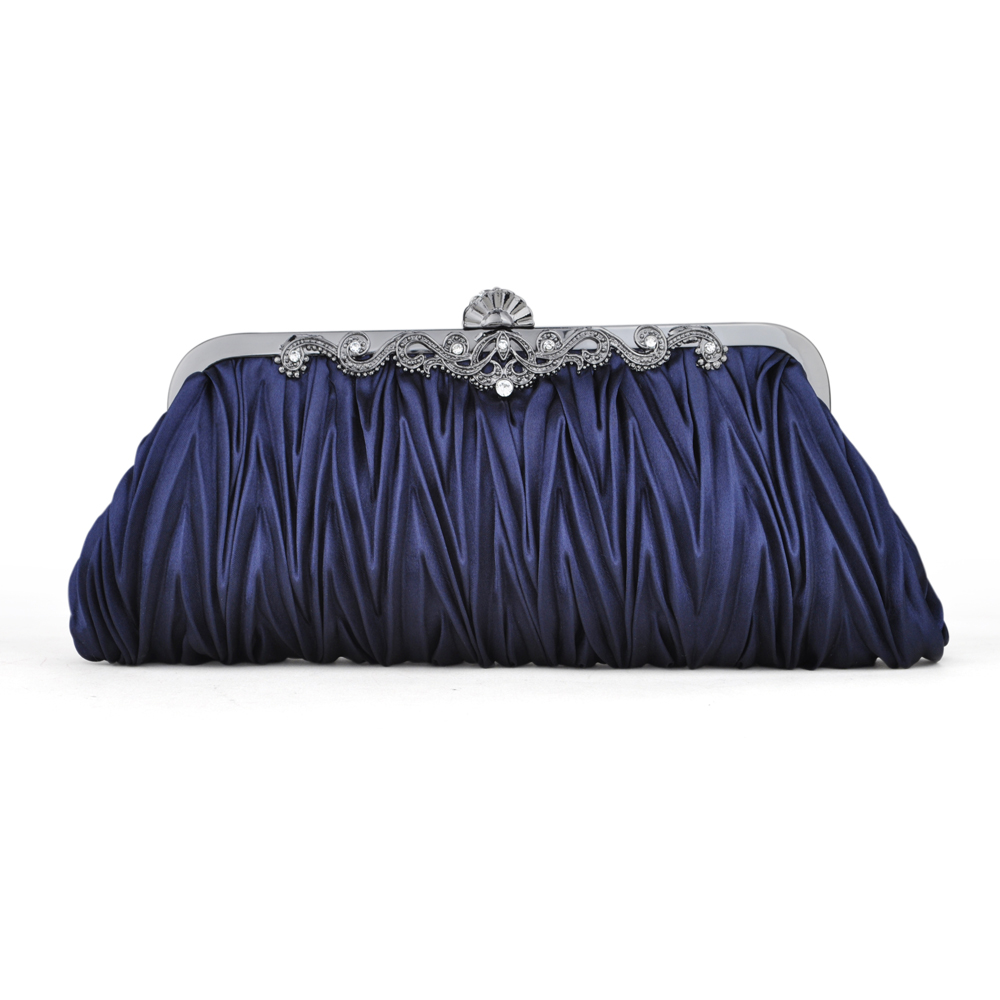 Pleated Satin Clutch, Dark Blue Evening Handbag, Gift Idea