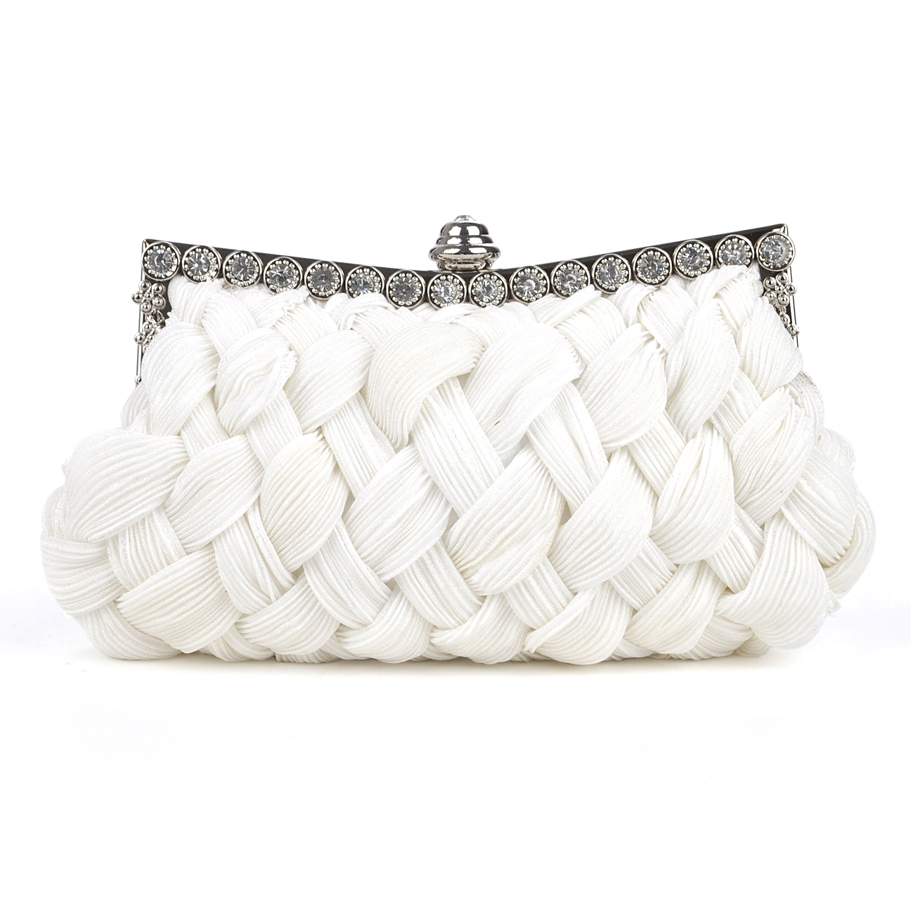 TopTie Woven Pattern Satin Evening Bag - White, Gift Idea