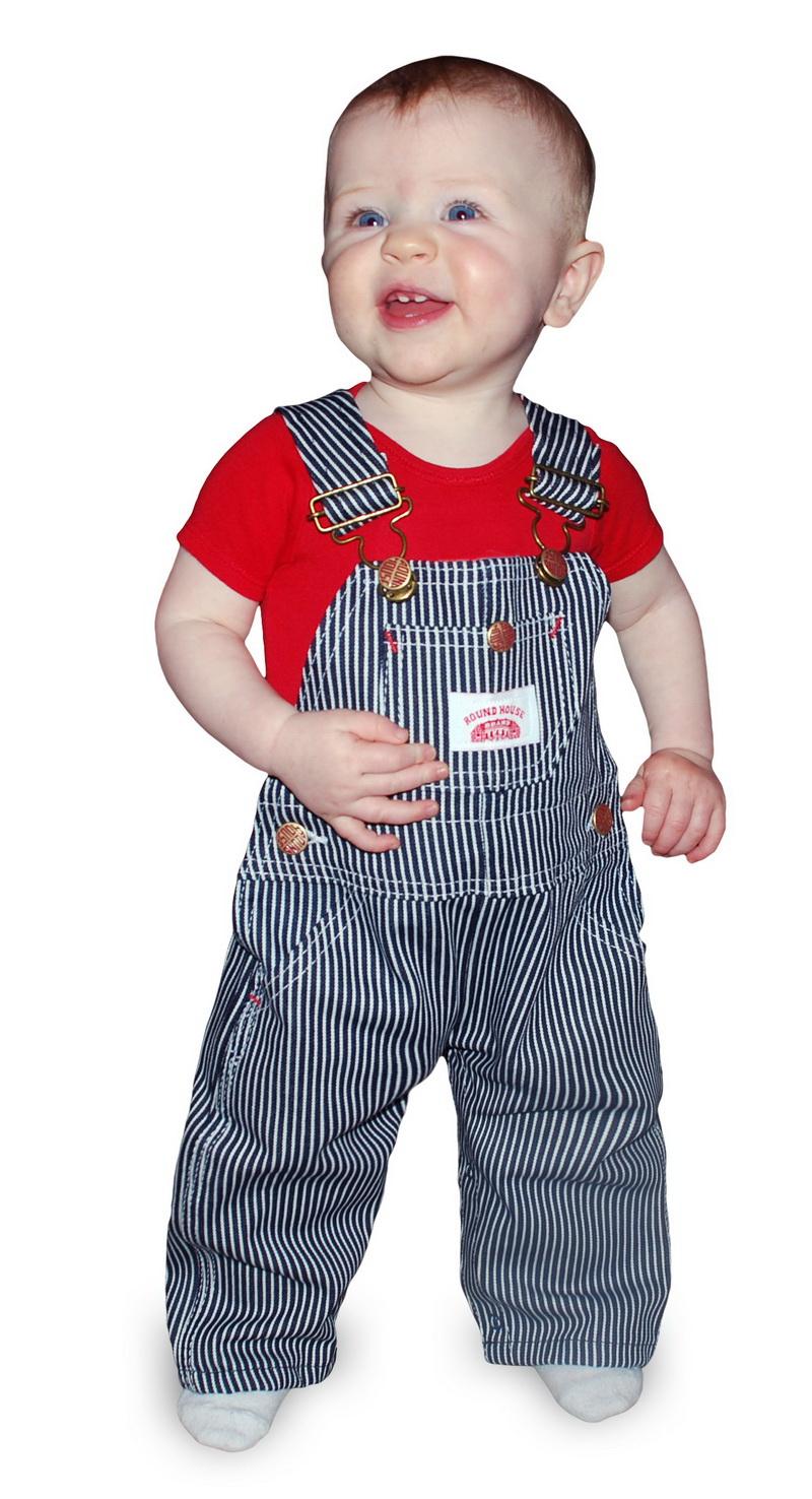 Round house hickory stripe bib overalls infant toddler size 12m 4t 10 oz - Roundhouse bib overalls ...