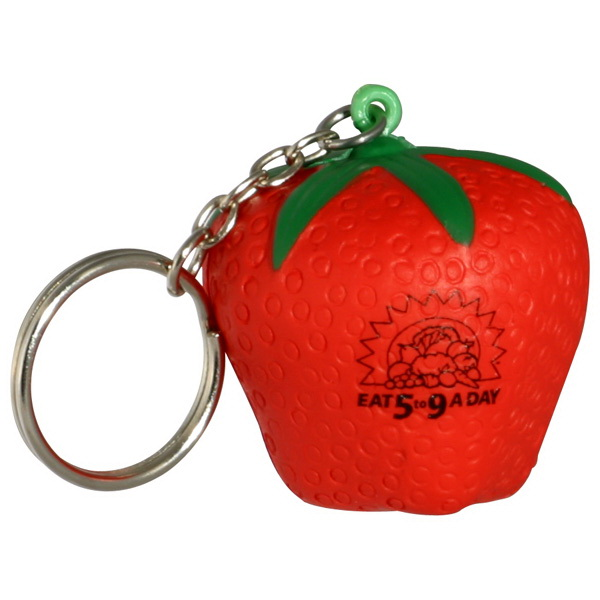 "Strawberry Key Chain/Stress Toy, 1 3/4"" Diameter X 1 3/4"" Diameter"