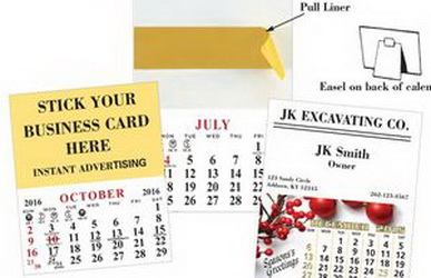 "Custom 13 Month Business Card Calendar, 3 1/2"" W X 4"" L"