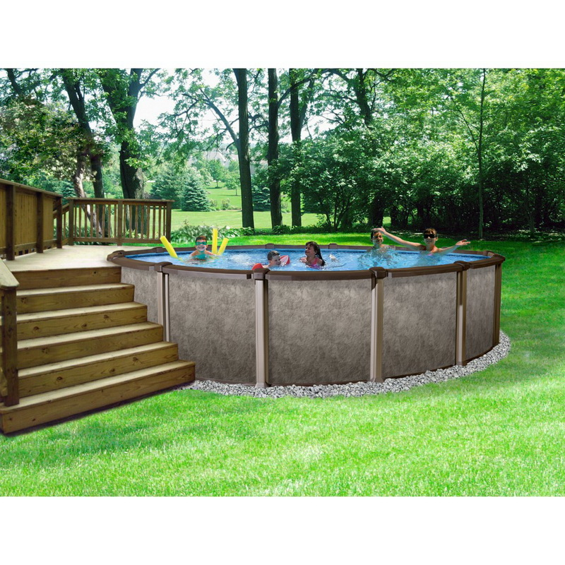 Blue wave nb1291 riviera 27 39 round 54 deep for Deep above ground pools