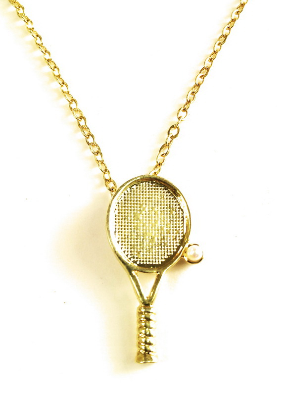 Tennis Racquet Necklace w/Pearl