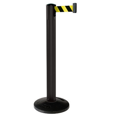 Beltrac BBB12 Beltrac? All Weather Stanchion - Black Post with Rubber Base, Color: Black/Yellow