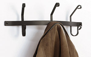 Village Wrought Iron CT-WH-3 Coat Bar with 3 Hooks