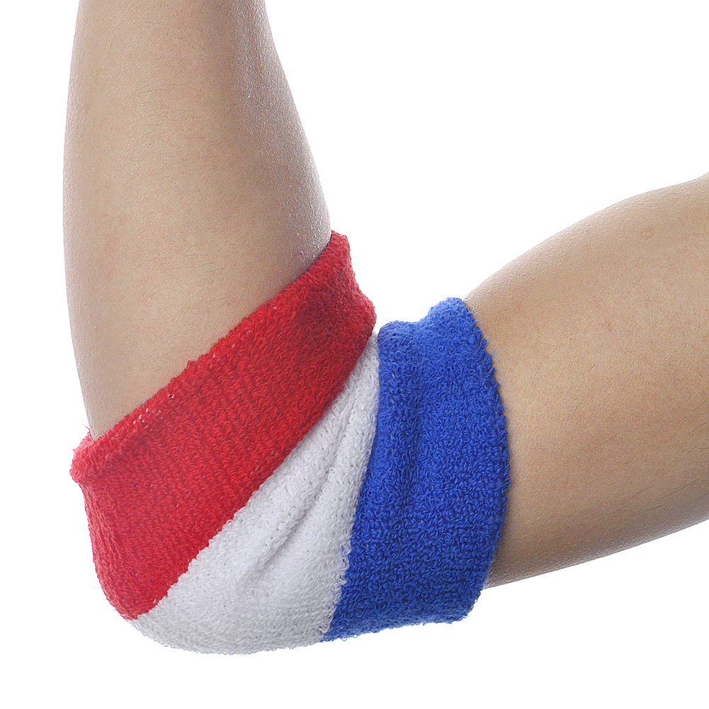 GOGO NBA Style Red/White/Navy Stripe Armband, Sweatband - 12 Pieces