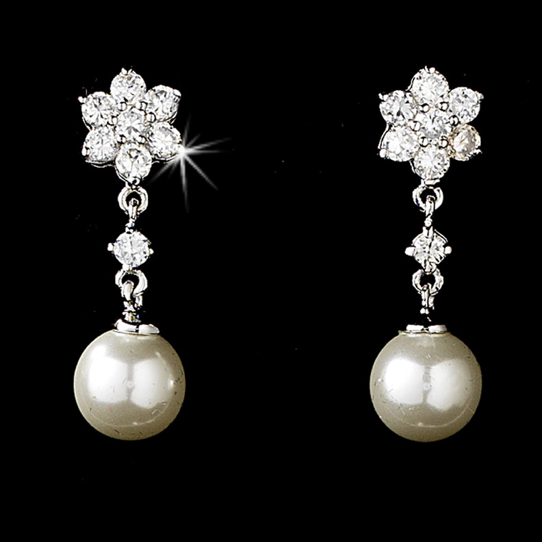 Elegance by Carbonneau E-3631-AS-Ivory Delightful Silver Clear CZ Flower Earrings w/ Pearl Drop 3631