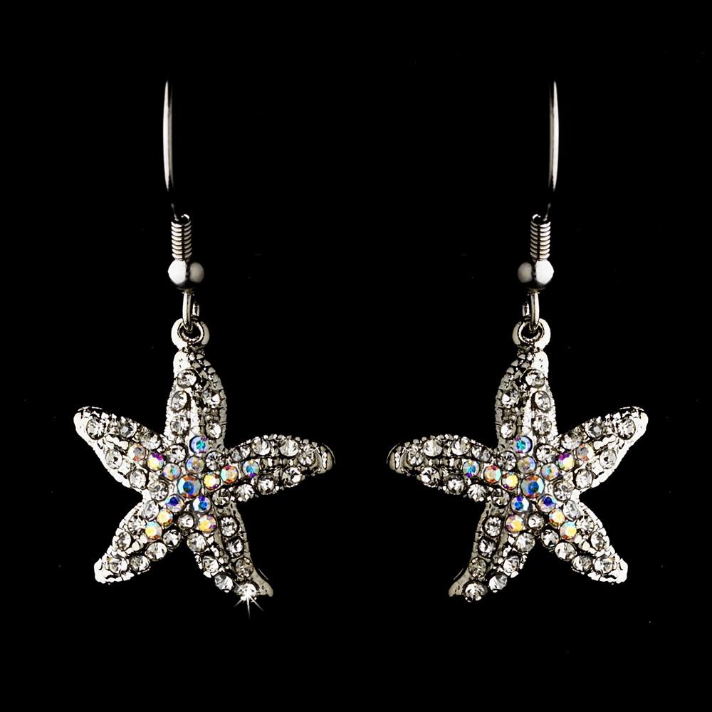 Elegance by Carbonneau E-8502-Silver-AB Starfish Earring Set 8502 Silver AB