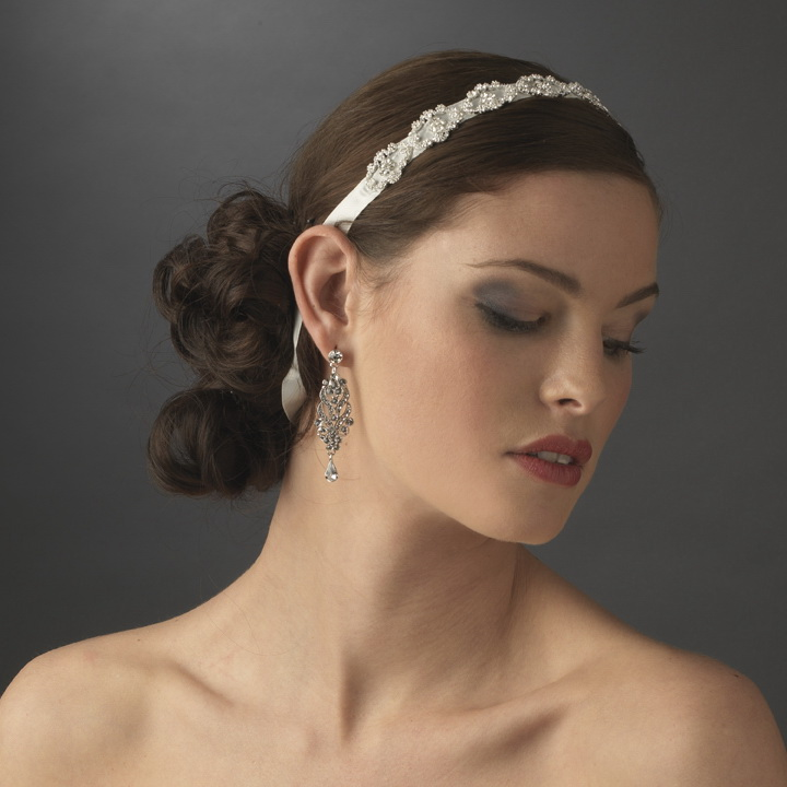 Elegance by Carbonneau HP-6471 Modern Vintage Crystal Bridal Ribbon Headband HP 6471