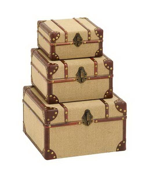 Benzara Old Look Burlap Travel Suitcase Set